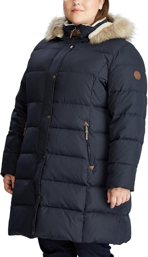 Lauren Ralph Lauren Down Puffer Coat with Removable Faux Fur Trim Hood