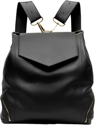 Holly & Tanager The Professional Leather Backpack Purse In Black