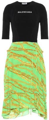 Balenciaga Jersey and silk crepe midi dress