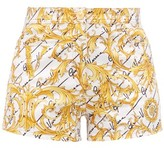 Versace Baroque-print Cotton-blend Twill Shorts - Womens - White Multi