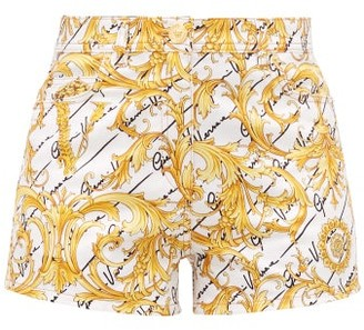 Versace Baroque-print Cotton-blend Twill Shorts - Womens - White Multi