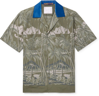 Sacai + Sun Surf Diamond Head Camp-collar Velvet-trimmed Printed Voile Shirt - Green