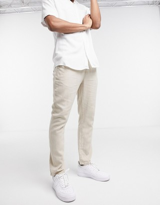 ASOS DESIGN slim trousers in beige linen