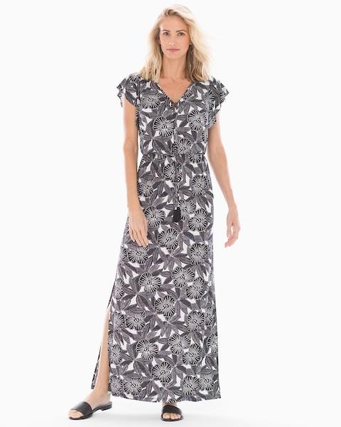 Soma Intimates Bahama Breeze Maxi Dress Black/White