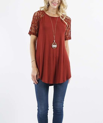 Lydiane Women's Tunics FIRED - Fired Brick Crewneck Lace-Sleeve Curved-Hem Tunic - Women & Plus