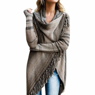 KaloryWee 2018 Women Winter Knitted Cashmere Poncho Capes Tassel Sweater Shawl Cardigans Sweater Coat Outwear Overcoat Brown