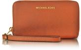 Michael Kors Jet Set Travel Large Flat MF Orange Saffiano Leather Phone Case/Wallet