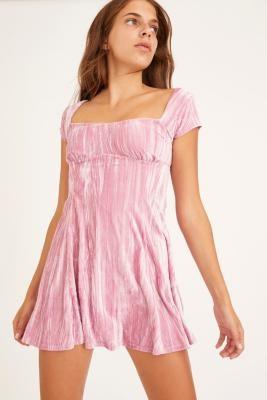 Urban Outfitters Uma Velvet Mini Dress - Purple XS at