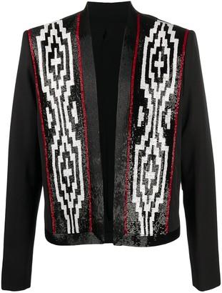 Balmain Wool Blazer With Patterned Beaded Detailing
