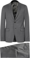 Prada Grey Slim-Fit Checked Virgin Wool Suit