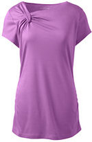 Lands' End Women's Short Sleeve Knot Neck Ruched Top-Crystal Amethyst Stripe