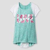 """Miss Chievous Girls' Short Crochet Sleeve """"LOVE"""" Top with Back Interest - Turquoise"""