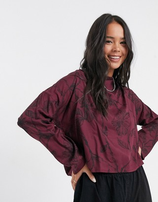 NATIVE YOUTH rose print blouse in burgundy
