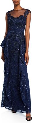 Rickie Freeman For Teri Jon Sweetheart Illusion Cap-Sleeve Sequin Lace Side-Fall Peplum Gown