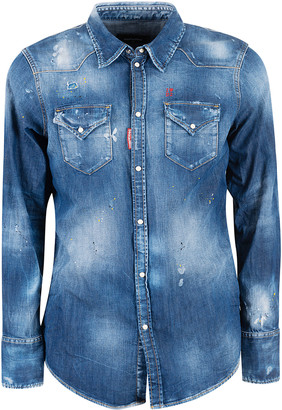DSQUARED2 Front Buttoned Pocket Buttoned Denim Shirt