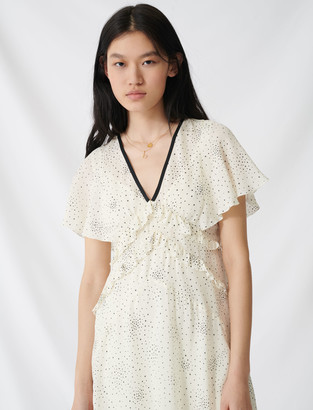 Maje Long ruffled dress with V neckline