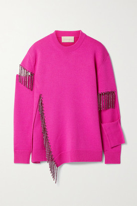 Christopher Kane Crystal-embellished Cutout Wool Sweater - Magenta