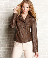 American Rag Juniors Jacket, Asymmetrical Zip Faux-Leather Moto