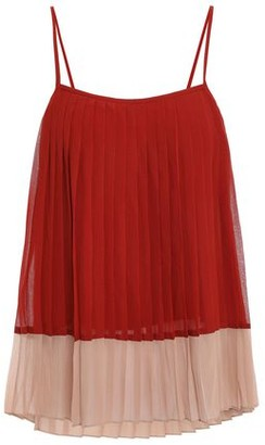 Zimmermann Pleated Two-tone Crepe De Chine Top