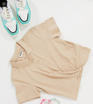 Noisy May Tall cropped polo shirt with twist front in camel