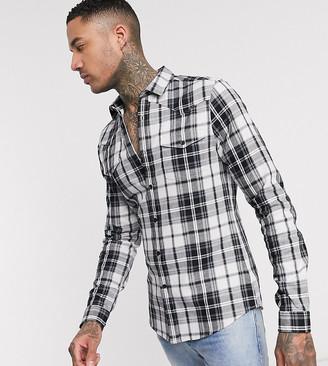 Asos DESIGN Tall long sleeve slim fit western shirt in black check