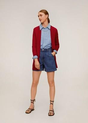 MANGO Ribbed detail cardigan red - XS - Women