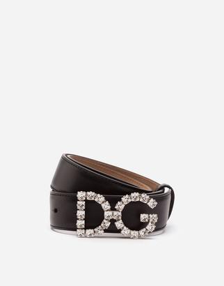 Dolce & Gabbana Calfskin Belt With Crystal Logo