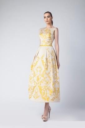 Divina by Edward Arsouni Sleeveless Boat Neck Midi-Tea Dress