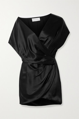 Mason by Michelle Mason Draped Wrap-effect Silk-satin Mini Dress - Black