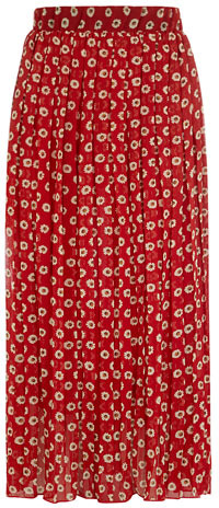 Dorothy Perkins Red floral pleated maxi skirt