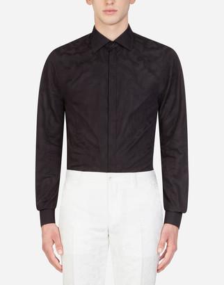 Dolce & Gabbana Cotton Jacquard Gold Shirt