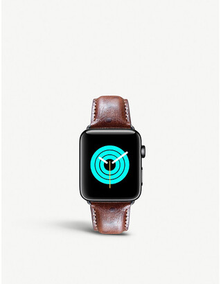 MINTAPPLE Apple watch ostrich-embossed leather strap and stainless steel case 38/40mm