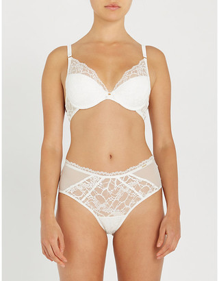 Chantelle Segur mesh and stretch-lace plunge bra