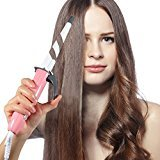 Olaxer EB201 Digital Ceramic Curling Wand with Clipper - Pink - White