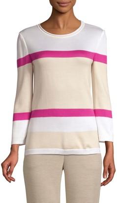 St. John Stripe Float Jacquard Knit Sweater