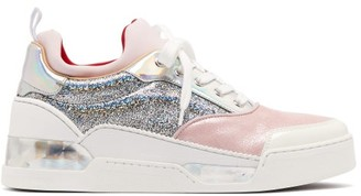 Christian Louboutin Aurelien Holographic Glitter Trainers - Womens - Pink Silver