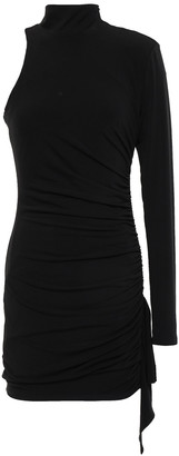 Cinq à Sept Asymmetric Ruched Ponte Turtleneck Mini Dress