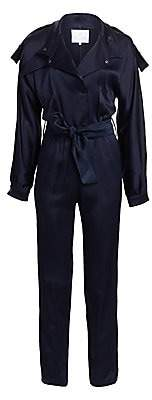 Carolina Ritzler Women's Long-Sleeve Tie-Waist Satin Jumpsuit