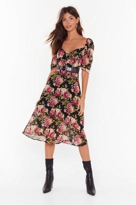 Nasty Gal Womens Flower 'Bout That Button-Down Midi Dress - Black