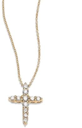 Roberto Coin Tiny Treasures Diamond & 18K Yellow Gold Cross Pendant Necklace