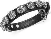 ABS by Allen Schwartz Hematite-Tone Black Leather Fireball Buckle Bracelet