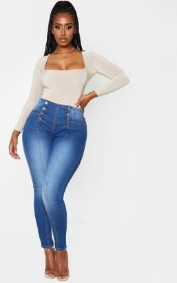 PrettyLittleThing Shape Dark Wash Button Front High Waist Skinny Jeans