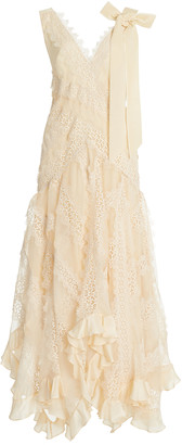 Zimmermann Charm Star Ruffled Silk Slip Dress