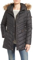 Andrew Marc Quilted Down Jacket with Faux Fur Trim