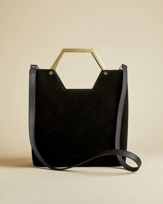 Ted Baker Leather And Suede Hexagon Handle Shopper Bag