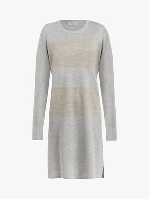 AllSaints Sparkle Striped Pull Over Jumper Dress, Silver