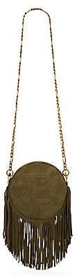 Balmain Women's Disco 18 Fringed Suede Shoulder Bag