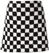 Courreges checked straight skirt - women - Polyamide/Cupro/Wool - 38