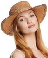 Aqua Metallic-Trim Boater Hat - 100% Exclusive