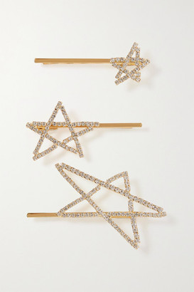 LELET NY Seeing Stars Set Of Three Gold-plated Crystal Hair Slides - one size